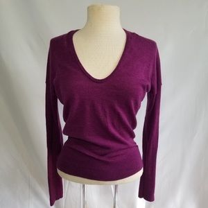 Lands End 100% Merino Wool Sexy V Neck Sweater